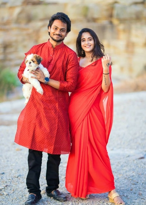 Shanmukh Jaswanth and Deepthi Sunaina, as seen in January 2021