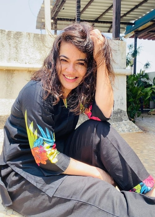 Shweta Gulati as seen while smiling for a picture in April 2021