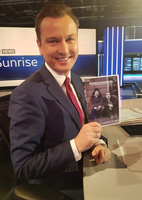 Stephen Dixon as seen smiling on the set of Sky News Sunrise