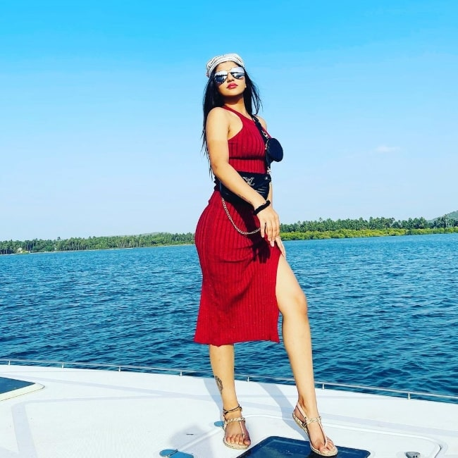 Yashika Aannand as seen while posing for the camera in Goa in April 2021