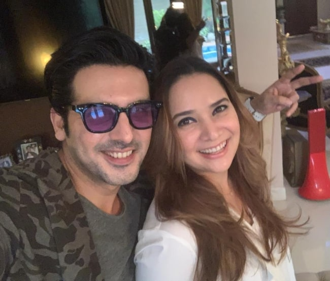 Zayed Khan smiling in a selfie with his wife in September 2019