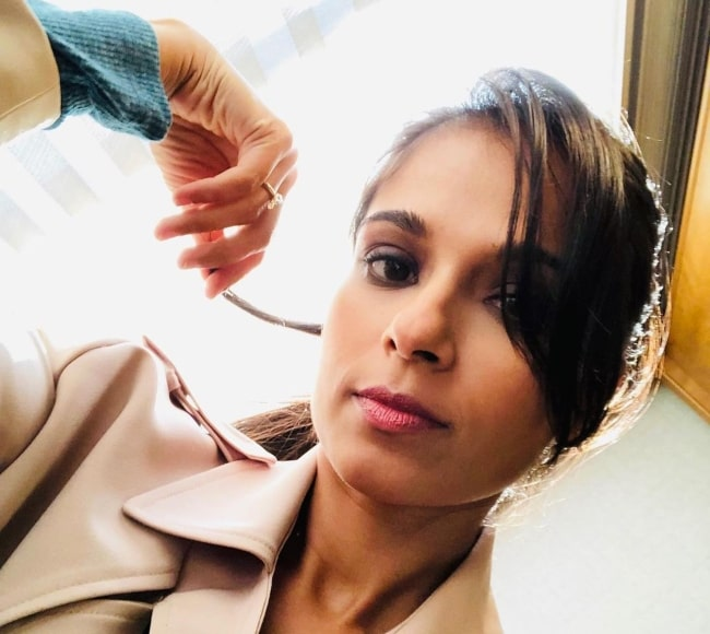 Dilshad Vadsaria in January 2021 having fun sharing her selfie while twirling her hair