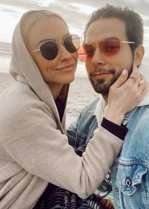 Lisa Stelly as seen in a selfie with her beau Skylar Astin in December 2020