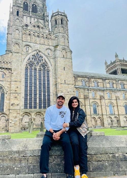 Tanya Wadhwa and Umesh Yadav at Durham Cathedral in Durham, England in 2021
